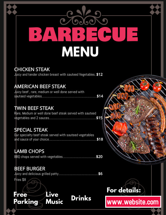 Barbecue menu Рекламная листовка (US Letter) template