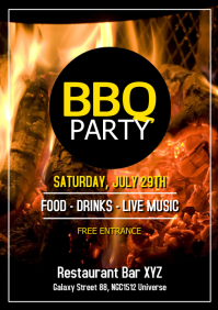 Barbecue Party BBQ Event Invitation Offer Ad A4 template