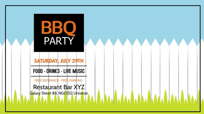 Barbecue Party BBQ Event Invitation Promo Ad Umbukiso Wedijithali (16:9) template
