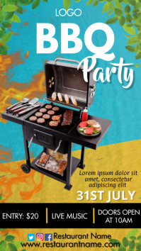 Barbecue Party Digital Display (9:16) template