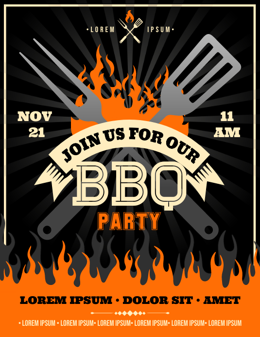BARBECUE PARTY FLYER Рекламная листовка (US Letter) template