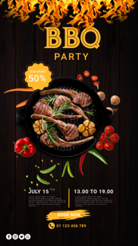 Barbecue party flyer design Pantalla Digital (9:16) template