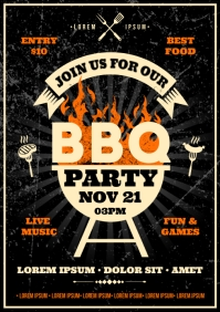 BARBECUE PARTY POSTER A4 template