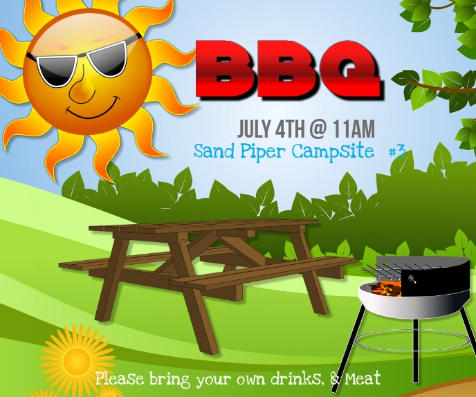 Barbecue Large Rectangle template
