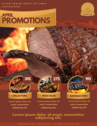 Barbecue restaurant Promotion Offer Flyer Template