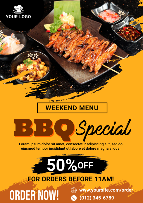 Barbecue Special Flyer Promo Ad A4 template