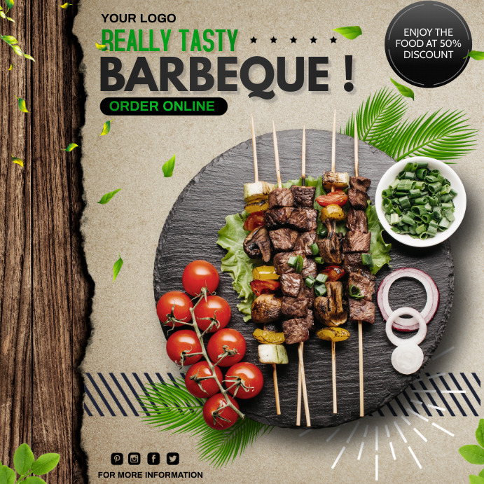 Barbeque, Restaurant, BBQ โพสต์บน Instagram template