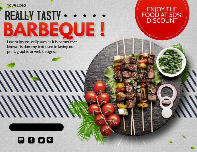 Barbeque, Thanks giving dinner, restaurant ใบปลิว (US Letter) template