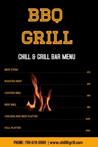 Barbeque bar menu Póster template