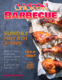 Chicken Barbeque Fundraiser Picnic Event Flyer Template Folheto (US Letter)