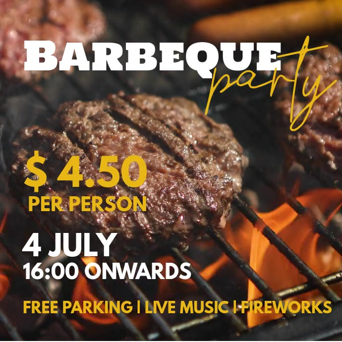 Barbeque Party สี่เหลี่ยมจัตุรัส (1:1) template
