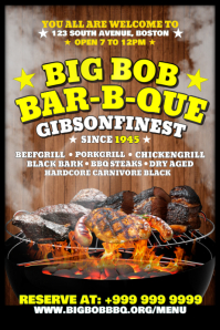 Barbeque Restaurant Invite Poster Template Iphosta