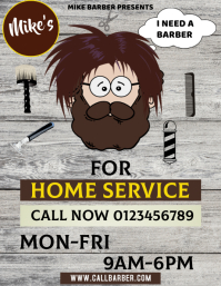 Barber Home Service Flyer Template