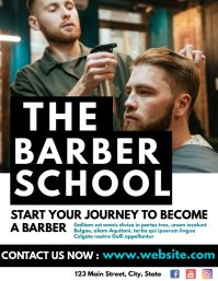 barber school flyer template advertisement