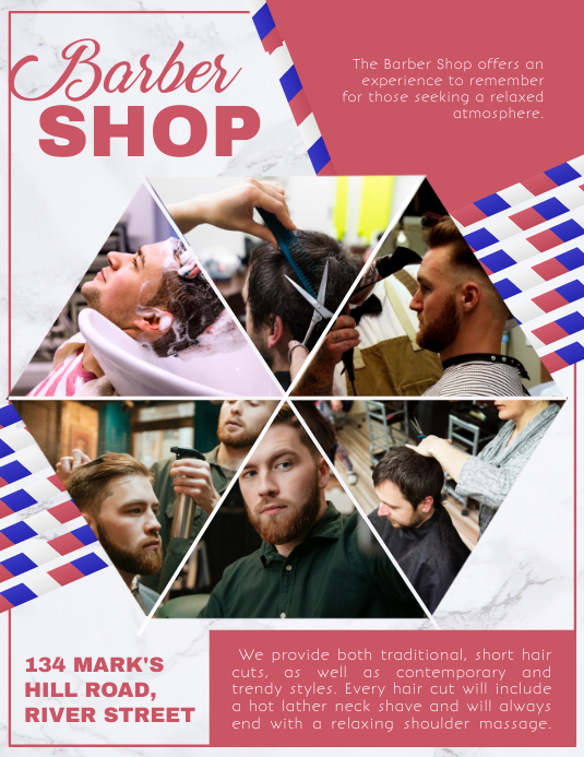 Barber Shop Ad Flyer Folheto (US Letter) template