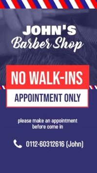 Barber Shop Appointment Only digital display Affichage numérique (9:16) template