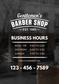 Barber Shop Business Hours Sign Template