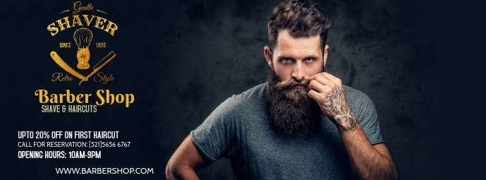 Barber Shop Facebook-coverfoto template