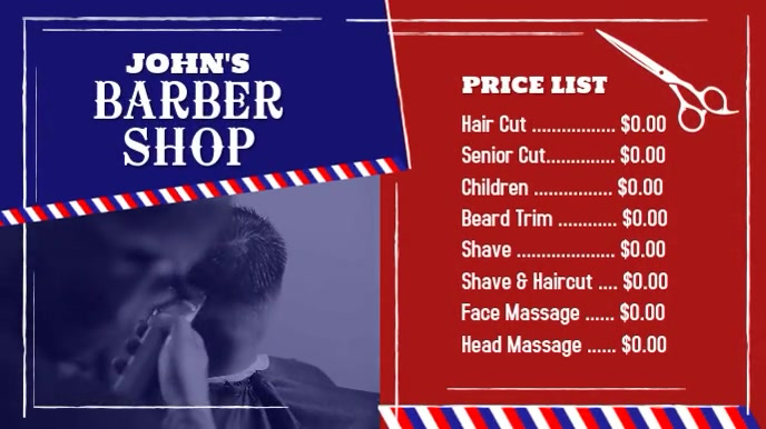 Barber Shop Digital Sign Price List Digitale Vertoning (16:9) template