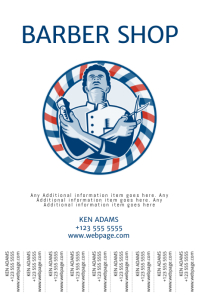 Barber shop flyer template with tear off tabs