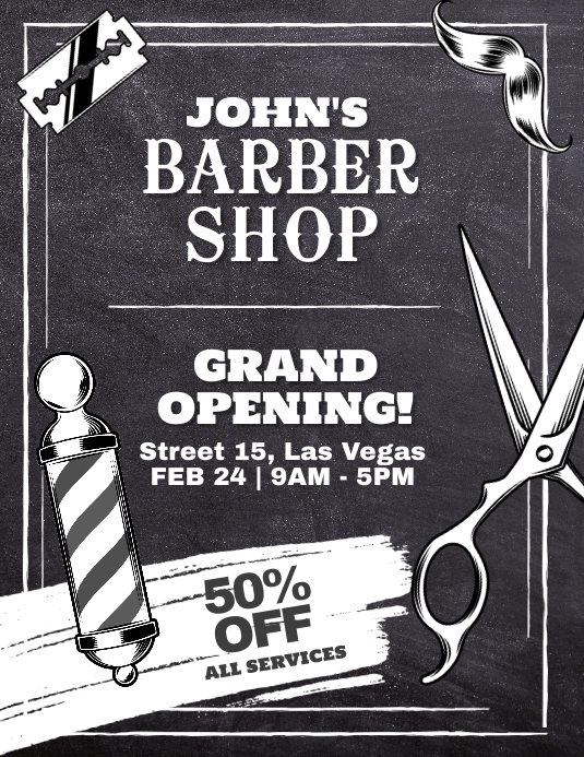 Barber Shop Grand Opening Flyer Poster