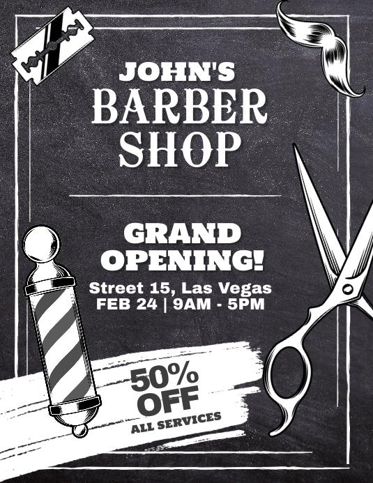 Barber Shop Grand Opening Flyer Poster Løbeseddel (US Letter) template