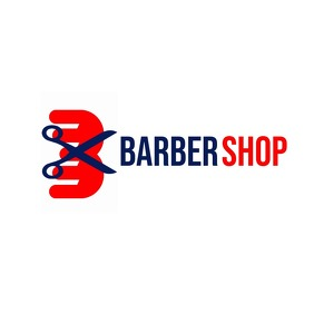 Barber shop logo blue and red