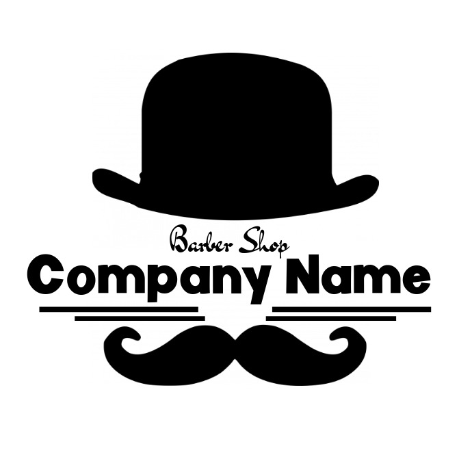 Barber shop logo hat and moustache