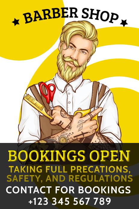 Barber Shop Online Booking Template Spanduk 4' × 6'