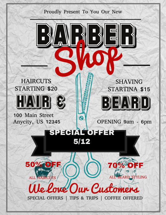 Barber Shop Folheto (US Letter) template