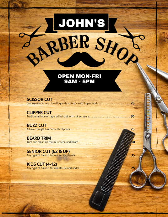 Barber Shop Price Flyer Poster Folder (US Letter) template