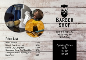 Barber Shop Price List Flyer Hair Salon Ad