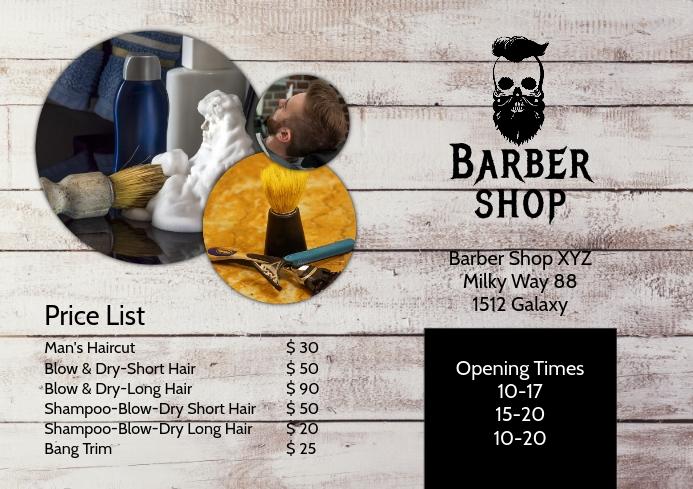 Barber Shop Price List Flyer Hair Salon Ad A4 template