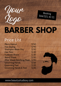 Barber Shop Price List Flyer Poster Hair Cut A4 template