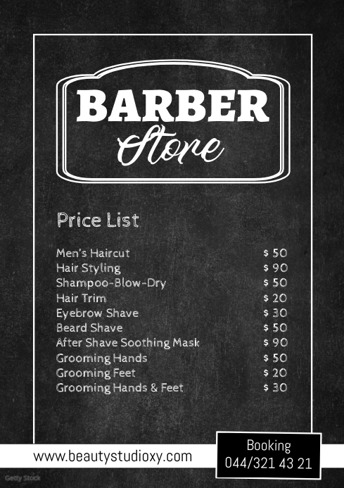 Barber Shop Price List Flyer Poster Hair Cut A4 template