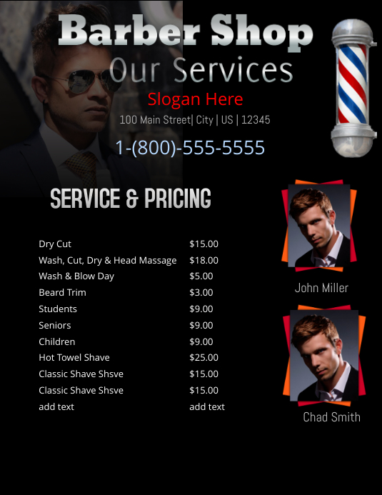 Barber shop price list template postermywall for Loreal salon price list