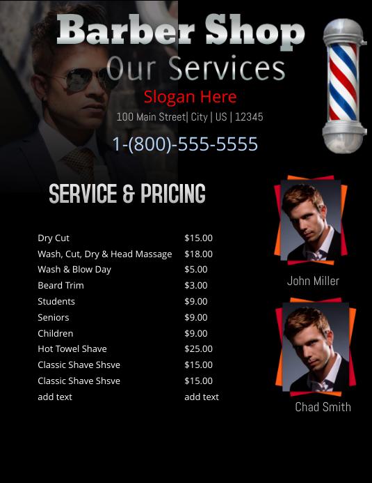 Barber Shop Price List Folder (US Letter) template