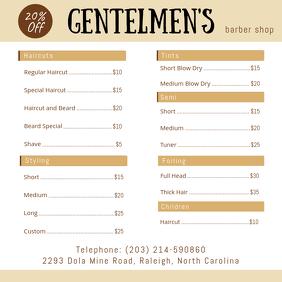 Barber Shop Price List Menu Design Instagram Post template