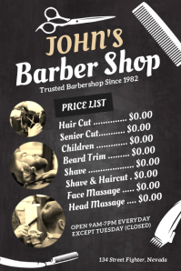 Barber Shop Price List Poster