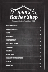Barber Shop Price List Poster Template
