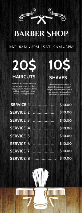 barber shop price list template design 半页信函