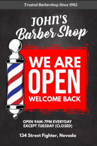 Barber Shop Reopening poster after Covid