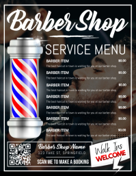 Barber Shop Service Menu Poster Flyer (US Letter) template