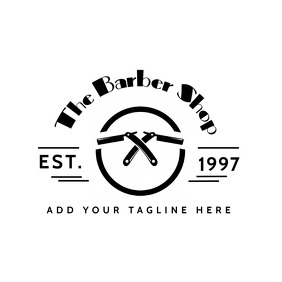 barbershop black and white logo Logótipo template