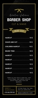 barbershop cut & shave pricing list template Letter Setengah Halaman