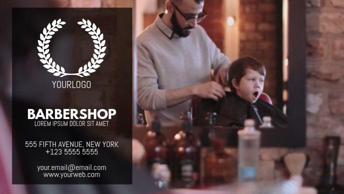 Barbershop hairdresser video business card template