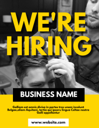 Barbershop hiring flyer template design adver ใบปลิว (US Letter)