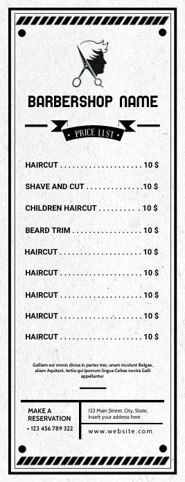 barbershop pricing list 半页信函 template