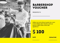 barbershop voucher postcard template design Postal