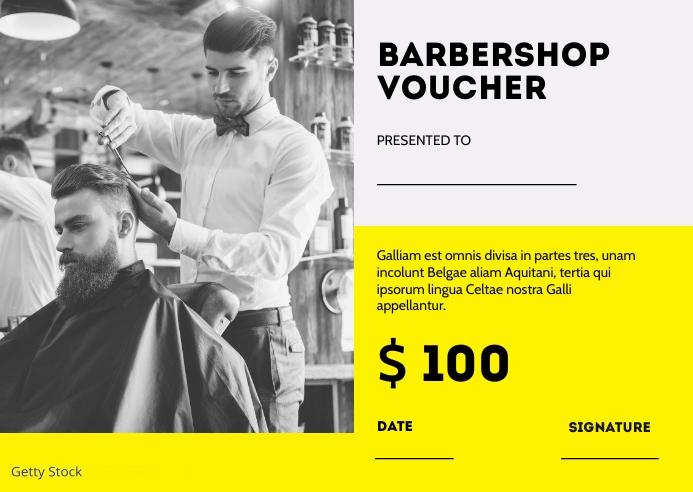 barbershop voucher postcard template design Postkarte
